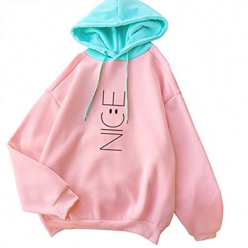 ZJSWCP Sweat-Shirt Automne Hiver Kawaii Fleeces Hoodies Lovely Smil Visage Lettre Mignon Sweat-Shirts À Capuche Survêtement Décontracté Pull Tops,M