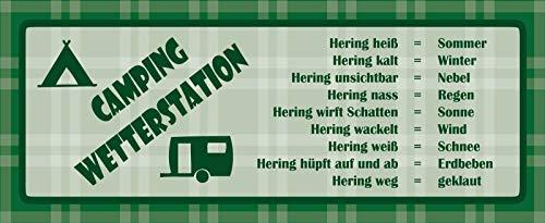 FS Camping Wetterstation Blechschild Schild gewölbt Metal Sign 10 x 27 cm