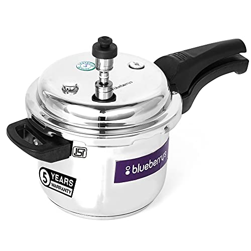 Blueberry's 3 Liter Stainless Steel Pressure Cooker Induction & Gas Stove Compatible 100% Food Grade ISI Certified (Silver)