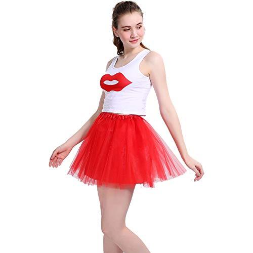 LOOHAOC Damen Tütü Rock Minirock 4 Lagen Petticoat Tanzkleid Dehnbaren Mini Skater Tutu Rock Erwachsene Ballettrock Tüllrock Damen Tüllrock für Party Ballett Tanzen Kostüme Weihnachten