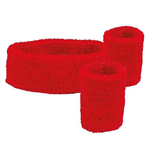 Boland 01892 - Schweißbänder Set, 2 Armbänder und 1 Stirnband, Rot, 80er Jahre, Accessoire, Trainingsanzug, Mottoparty, Karneval