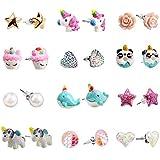 SkyWiseWin Hypoallergenic Unicorn Earrings Set Little Girls, Children's Colorful Cute Earrings for Kids