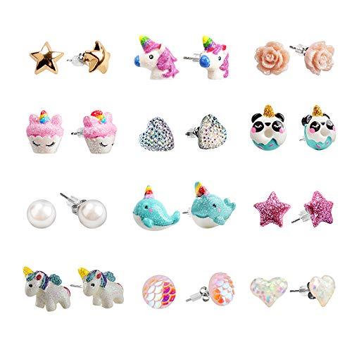 SkyWiseWin Hypoallergeni Earrings Set Little Girls, Children's Colorful Cute Earrings for Kids