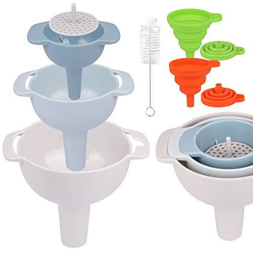 SORICO Küchen Trichter Sset, 3er Pack verschachtelte Trichter mit Griff Kunststoff-Trichter mit abnehmbarem Filter