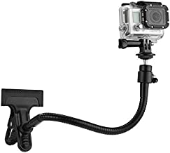 CAMKIX Pince de Fixation + Cou Réglable - Compatible avec GoPro Hero Fusion, Hero 8 Black, 7, 6, 5, 4, 3+, 3, 2, 1, DJI Osmo Action - Support Double Fonction - avec Support à Rotule et Cou Réglable