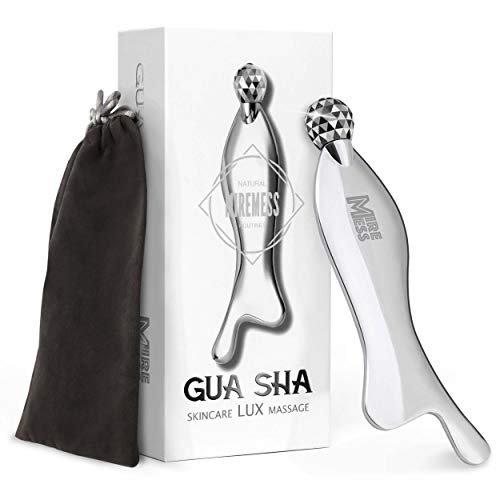Gua Sha Scraping Massage Tool Stainless Steel - Anti-Aging Skincare Physical Therapy Soft Tissue Mobilization IASTM Trigger Points and Muscle Tightness