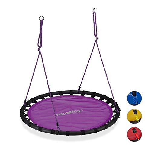 Relaxdays, lila Nestschaukel, runde Hängeschaukel, für Kinder & Erwachsene, verstellbar, draußen, Ø: 120 cm, bis 100 kg