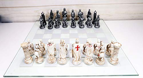 Ebros Gift Hand Painted Medieval Crusader Knights of The Cross Christian VS Muslim Saladin Ottoman Empire Resin Chess Pieces with 15' by 15' Checkered Frosted and Transparent Glass Board Set