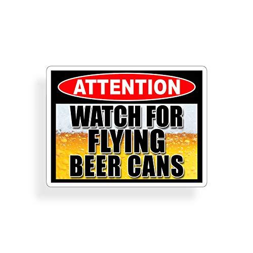 Sticker-Designs 15cm! Klebe-Folie Wetterfest Made-IN-Germany Watch Flying Beer Achtung Bier fliegt Drink Drinking Z512 UV&Waschanlagenfest Auto-Aufkleber Profi-Qualität!