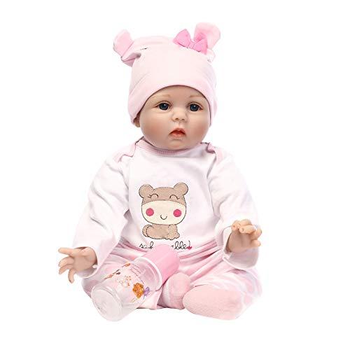 """JJone Boneca Reborn PP Algodão Preenchendo Corpo Com Cabelo Enraizado Roupas Fralda Boneca Bebê Recém-nascido Boneca Boneca 22""""55 cm Vida Fofa Menina Presentes Brinquedo Pink Deer"""