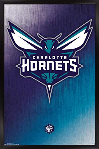 "Trends International NBA Charlotte Hornets - Logo 14 Wall Poster, 22.375"" x 34"", Black Framed Version image"