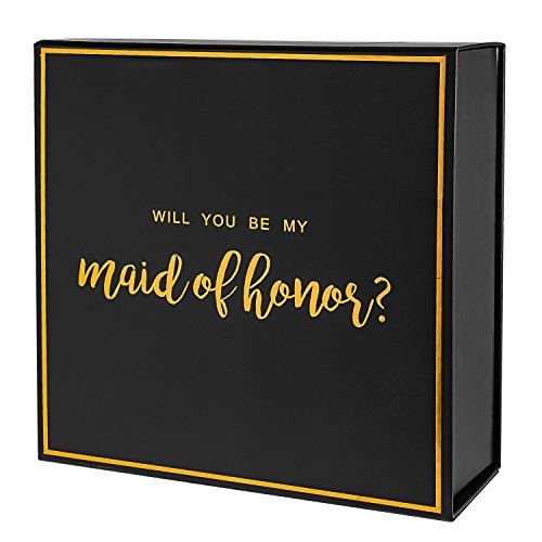 Crisky Black Maid of Honor Proposal Box with Gold Foiled Text | 1 Empty Boxes | Perfect for Will You Be My Maid of Honor Gift and Wedding Present