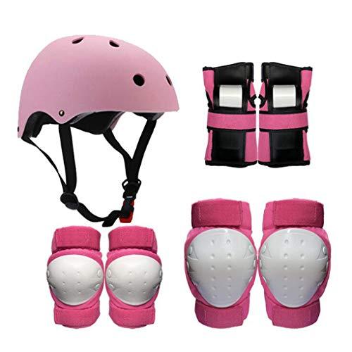 Helm Protektoren, Kinder Erwachsene Eislaufen Schutzausrüstung Helm Skating Skating Rollschuhe Schutzausrüstung Roller Reiten Knieschützer (Farbe : Pink, größe : S)