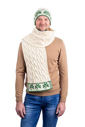 SAOL 100% Merino wol drie shamrock Merino wollen sjaal, in natuurlijk/houtskool/marine/groen