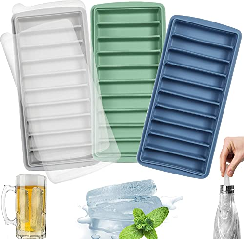 LessMo 3 PCS Ice Cube Tray, Long Ice Stick Tray Silicone with Lid, Rectangular Narrow Stick, Reusable, Flexible, Easy Release, for Small Mouth Sport Bottles, Juice Bottles, Cocktail Parties