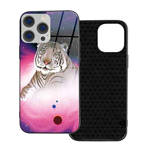 RTBB Iphone 12 Glass Case 3D White Tiger In Space Galaxy Flexible Soft Tpu Protection Back Toughened Glass Protective Shockproof Cover Cases For Iphone 12/12 Pro/12 Mini/12 Pro Max