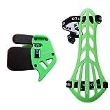 Bicaster - Set di protezioni per le dita con arco arco per la tradizione (verde) + protezioni per il braccio, per arco ricorrente (verde)