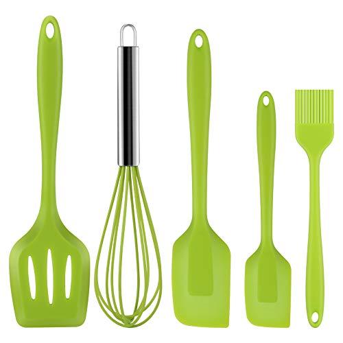 hicoosee Utensilio de cocina de silicona, antiadherente, set de utensilios de cocina, espátula grande, espátula pequeña, pincel, batidor de varillas para hornear, 5 unidades, color verde