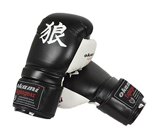 OKAMI Fightgear Erwachsene DX Boxing Gloves 2.0 Boxhandschuh, schwarz/Weiß, 12 oz