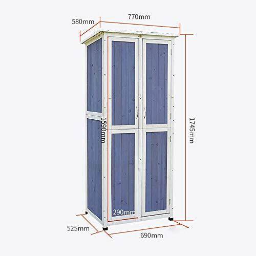 41BnB8jPXdL - Außen Locker Balkon Hof Garten Massivholz-Lagerschrank wasserdichte Sonnenschutz Ideale Aufbewahrungsbox für den Außenbereich (Farbe : Blau, Size : 77x58x175cm)