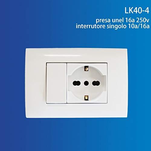 takestop PLACCA E INTERRUTTORI Completa JK_LK40-4 Presa Universale 16A 250V + Interruttore Singolo 2 POSTI Adattatore SCHUKO PLACCHETTA per CASA Lavoro Ufficio IMPIANTO Elettrico
