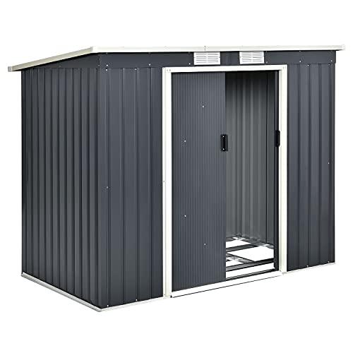 Juskys Metall Gerätehaus M mit Pultdach, Schiebetür & Fundament | 4m³ | anthrazit | Geräteschuppen Gartenhaus Schuppen Metallgerätehaus