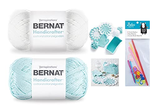 Bernat Handicrafter Cotton Yarn, 14 Oz, Gauge #4 Med, 100% Cotton, White and Robin's Egg Bundle with Bella's Crafts H/5mm Crochet Hook, 10 Stitch Markers, 4 Yarn Weaving Needles and Crochet Patterns