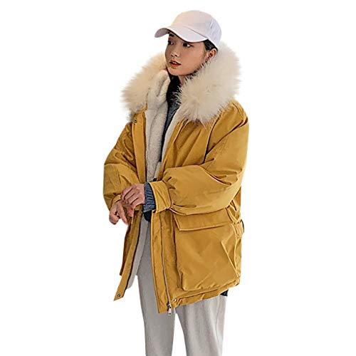 serliyDamen Winterjacke mit Pelzkragen Fleecejacke Mit Kapuze Hooded Outwear Mäntel...