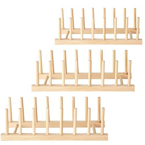 3 PCS Bambus Teller Racks Stand, Abtropffläche Teller Stand, Küchenschrank Veranstalter Geschirr trocknen Rack, Teller Racks hölzernen Stand-geeignet für Schüssel, Geschirr Buch