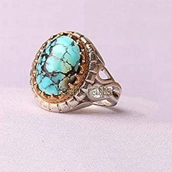 Solid 925 Sterling Silver Jewelry Womens Tibetan Turquoise Ring Statement Ring Tibetan Turquoise Women's Ring Wedding Ring Handmade Rings Jewelry For Gift Oval Shaped Gemstone Ring Gift Ring