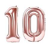 Siumir Globos de Número Número 10 Oro Rosa Globos Digital Grande Papel De Aluminio Globos Decoración de Fiestas de Cumpleaños