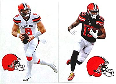 "FATHEAD Baker Mayfield & Odell Beckham Jr. Mini Graphics + 2 Cleveland Browns Logo Official NFL Vinyl Wall Graphics - Each Player 7"" INCH"