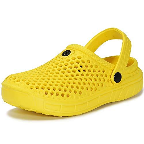 Zuecos y Mules Jardín para Niños Zapatillas de Verano Niñas Piscina Sandalias de Playa Antideslizante Pantuflas Zapatos Amarillo 31