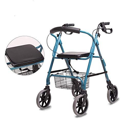 GEHHHILFEAID Lichtgewicht 4-wielig rollator met afneembare boodschappenmand en in hoogte verstelbare loophulp voor oudere mensen