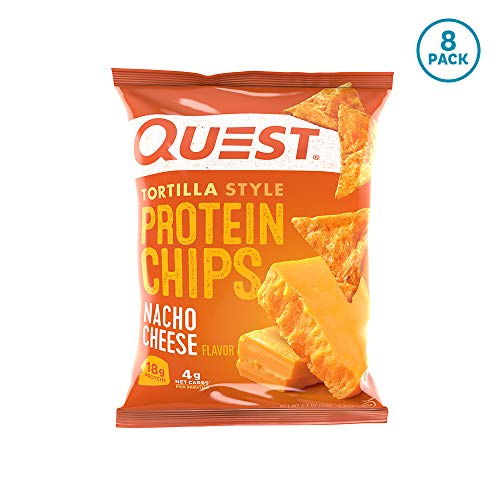 Quest Nutrition Tortilla Style Protein Chips, Nacho Cheese, Low Carb, Gluten Free, Baked, 1.1 Ounce (Pack of 8)