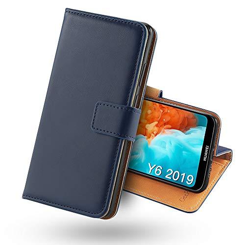 Huawei Y6 2019 Hülle, [Standfunktion] [Kartenfach] [Magnet] [Anti-Rutsch] PU-Leder Schutzhülle Brieftasche Handyhülle Kompatibel Mit Huawei Y6 2019 Blau