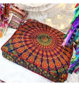 Sophia Art Indian Daybed Big Seating Peacock Mandala Floor Pillow Cover Pouf Cushion Case Bohemian Ottoman Meditation Throw Large 3535'