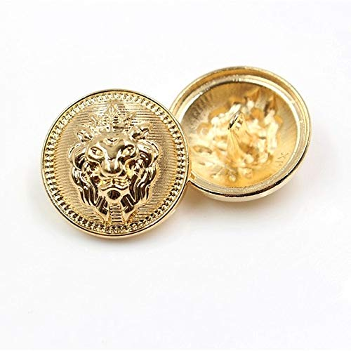 Linka 10 unids/Lote botón de Metal con Cabeza de León Dorado para Ropa, suéter, Abrigo, decoración, Botones de Camisa, Accesorios DIY