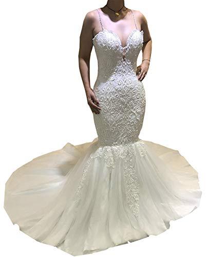 Meganbridal Damen Schulterfrei Meerjungfrau Hochzeitskleid mit Zug für Braut Rüschen Tüll Spitze Braut Ballkleid -  Weiß -  48 Mehr