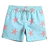 MaaMgic Bañadores Hombre Ropa de Baño Short de Natación Tropical Vacaciones y Viajes en Verano con Bolsillos Azul Estrella de Mar L