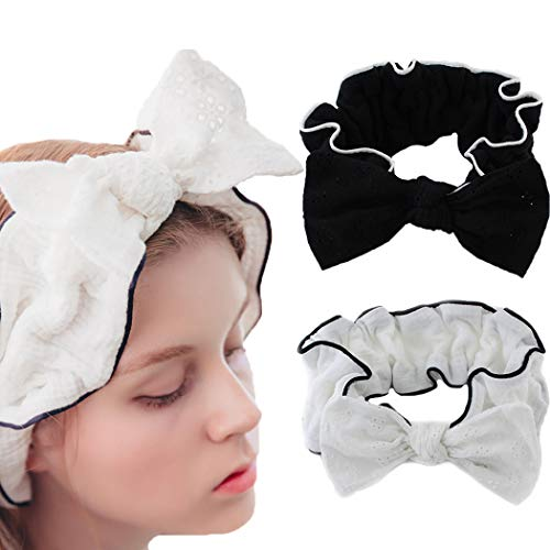 JONKY Sweet Bow Lace Spa Headband Black White Soft Wash Bath Hair Wraps Stretched Yoga Hair Bands Best Gift for Women and Girl (Pack of 2) (black,white)