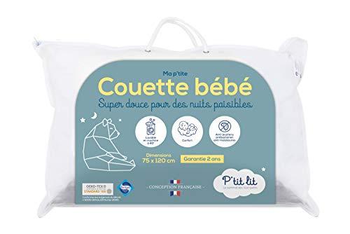 P'TIT LIT Couette Bébé | Enfant-75x120 cm-Anti Acariens-Idéal pour lit 60x120 cm-100% Microfibre-Oeko Tex-Conception Française, Blanc, 75x120