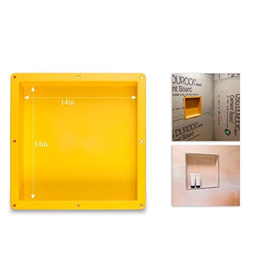 Uni-Green Tile Shower Niche Recessed Square 14' ×14 ' × 4' D Shower Shelf for Bathroom Niche Storage and Built in Shower Shelf