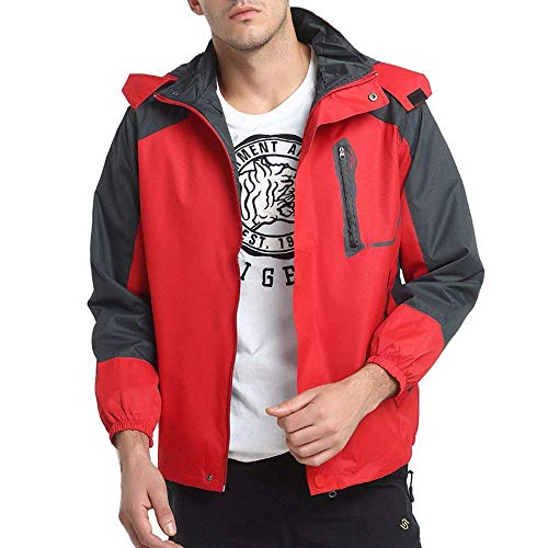 Männernner Sind Wasserdichte Jacke. Outdoor Fashion Kapuzen Auch Sportbekleidung Wasserdicht Winddicht Jacken Coat (Color : Rot, Size : XL)
