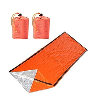 Emergency Sleeping Bag,2 Pack Lightweight First Aid Blanket, Thermal Waterproof Emergency Bivy Sack, Survival Sleeping Bag for Trail Running, Travel, Camping, Hiking, Outdoor Activities Orange