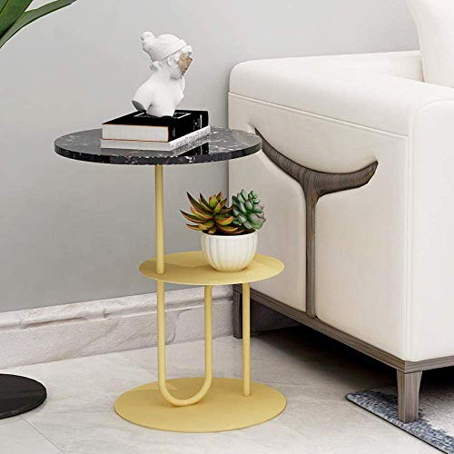 Modern Living Room Small Coffee Table Marble Sofa Side Table Corner Table Iron Round Bedroom Bedside Table Snack Table Balcony Table Design Furniture-White Gold