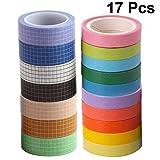 EXCEART 17 Piezas de Cinta Adhesiva de Color Rollos de Papel Washi Tape Set Diy Cinta de Embalaje Papel Adhesivo Decorativo para Álbum de Recortes Diario Artesanal Regalo
