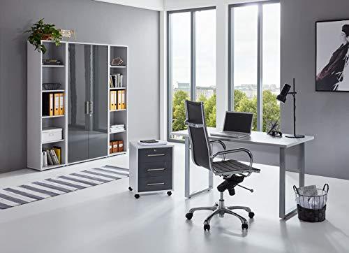 BMG-Moebel.de Büromöbel komplett Set Arbeitszimmer Office Edition Mini in Lichtgrau/Anthrazit Hochglanz (Set 3)