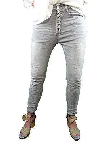Place du Jour dames stretch jeans gekleurd denim open knoopsluiting