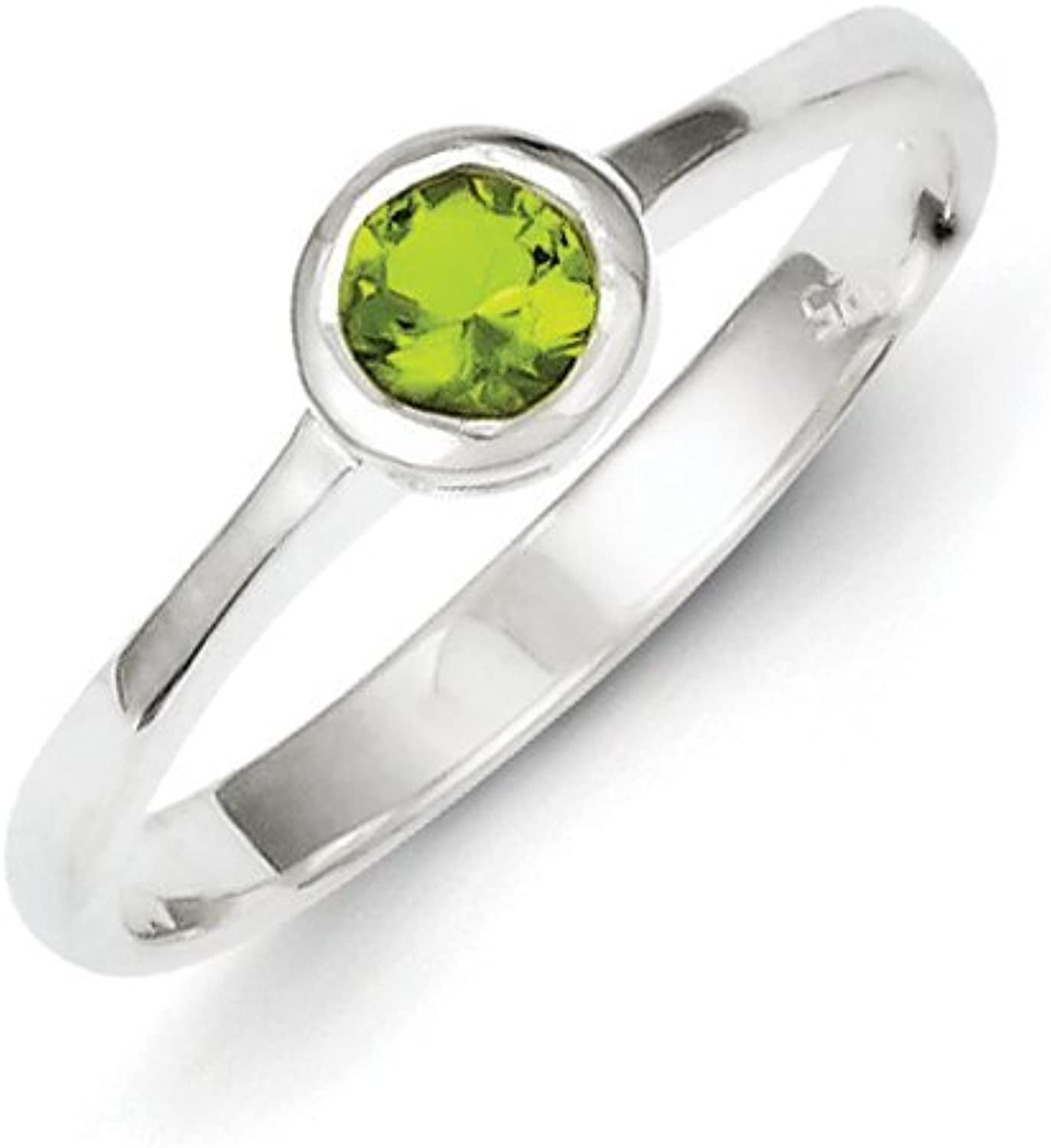 gold and Watches Sterling Silver Lime Green Round Bezel CZ Ring